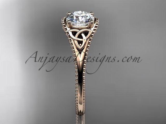 14kt rose gold celtic trinity knot wedding ring, engagement ring CT7375 - AnjaysDesigns