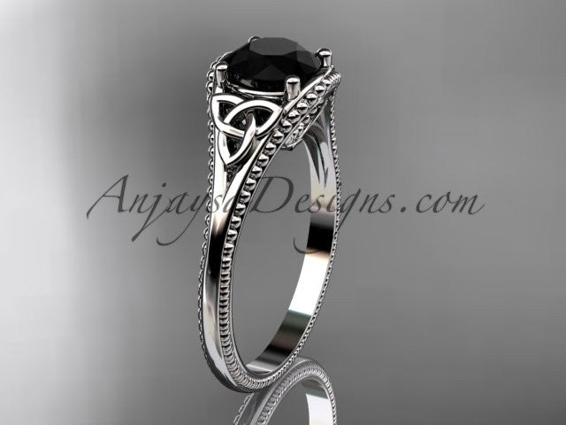 platinum celtic trinity knot wedding ring, engagement ring with a Black Diamond center stone CT7375 - AnjaysDesigns