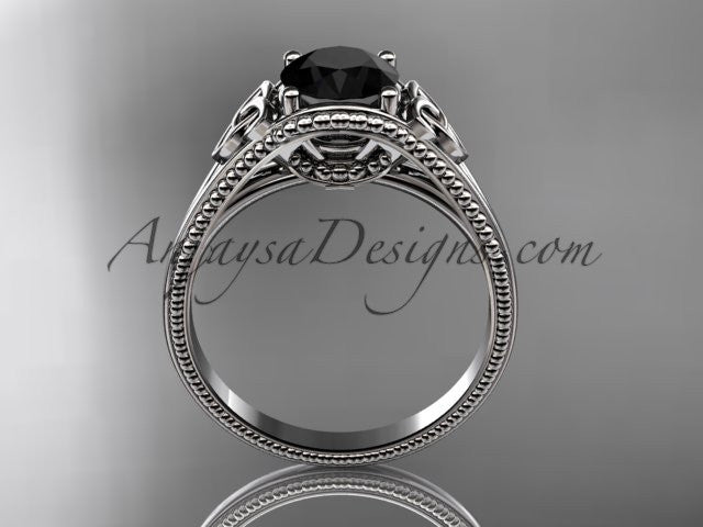 14kt white gold celtic trinity knot wedding ring, engagement ring with a Black Diamond center stone CT7375 - AnjaysDesigns