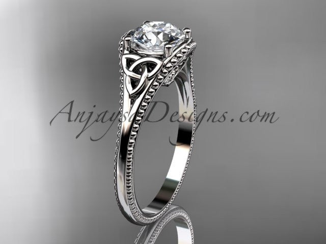 "14kt white gold celtic trinity knot wedding ring, engagement ring with a ""Forever One"" Moissanite center stone CT7375 - AnjaysDesigns"