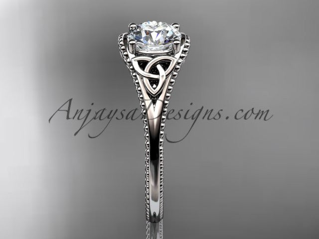 14kt white gold celtic trinity knot wedding ring, engagement ring CT7375 - AnjaysDesigns