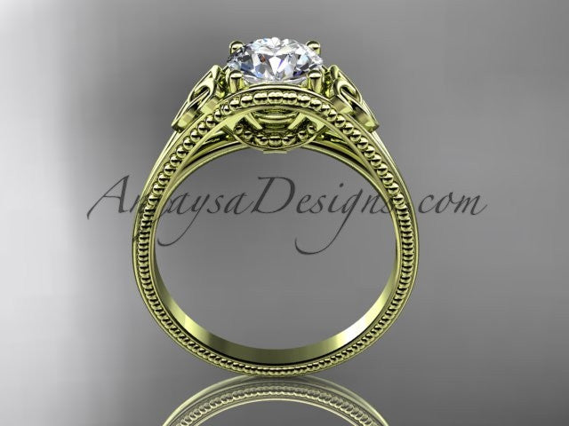 "14kt yellow gold celtic trinity knot wedding ring, engagement ring with a ""Forever One"" Moissanite center stone CT7375 - AnjaysDesigns"