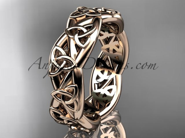 14kt rose gold celtic trinity knot wedding band, triquetra ring, engagement ring CT7392G - AnjaysDesigns