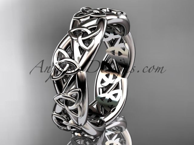 14kt white gold celtic trinity knot wedding band, triquetra ring, engagement ring CT7392G - AnjaysDesigns