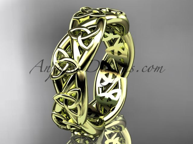 14kt yellow gold celtic trinity knot wedding band, triquetra ring, engagement ring CT7392G - AnjaysDesigns