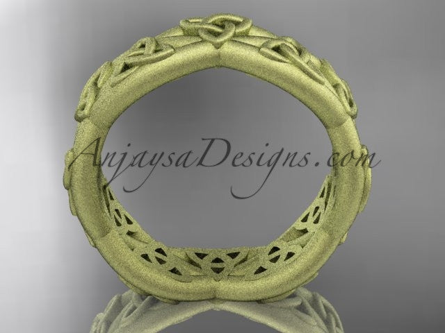 14kt yellow gold celtic trinity knot wedding band, matte finish wedding band, triquetra ring, engagement ring CT7392G - AnjaysDesigns