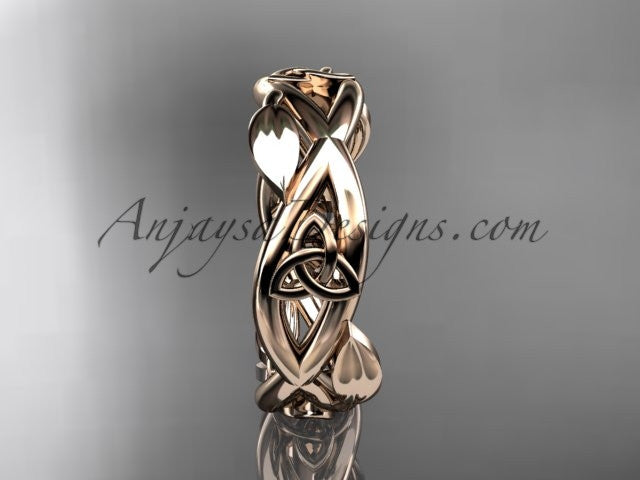 14kt rose gold celtic trinity knot wedding band, triquetra ring, engagement ring CT7403G - AnjaysDesigns