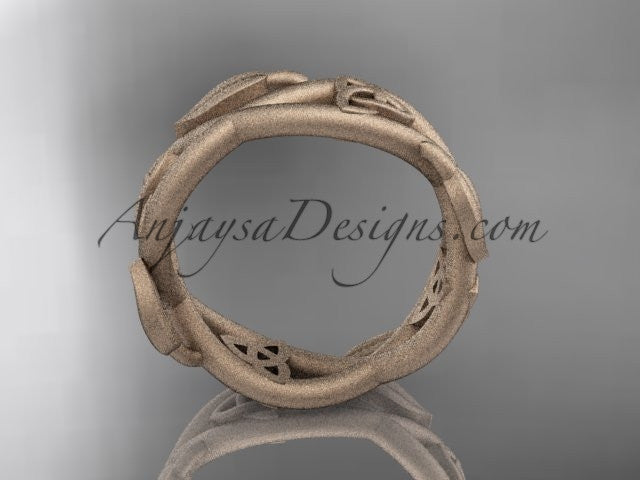 14kt rose gold celtic trinity knot wedding band, matte finish wedding band, triquetra ring, engagement ring CT7403G - AnjaysDesigns