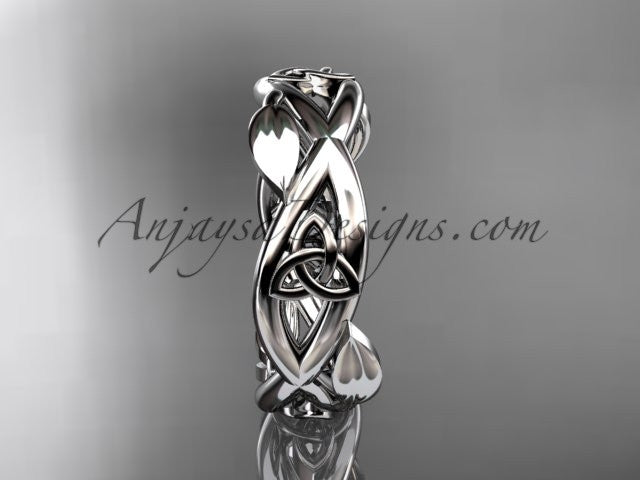 14kt white gold celtic trinity knot wedding band, triquetra ring, engagement ring CT7403G - AnjaysDesigns