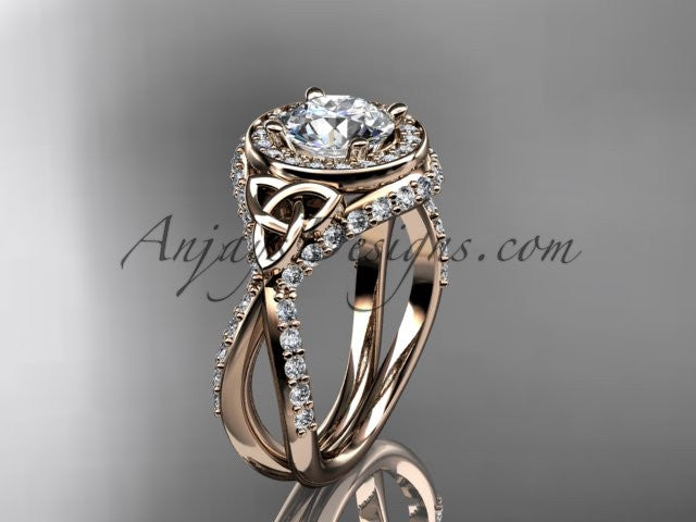 14kt rose gold diamond celtic trinity knot wedding ring, engagement ring CT7416 - AnjaysDesigns