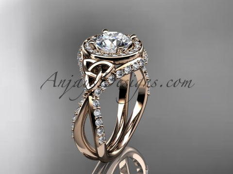 "14kt rose gold diamond celtic trinity knot wedding ring, engagement ring with a ""Forever One"" Moissanite center stone CT7416 - AnjaysDesigns"