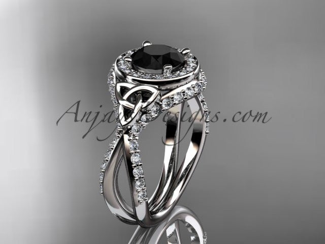 14kt white gold diamond celtic trinity knot wedding ring, engagement ring with a Black Diamond center stone CT7416 - AnjaysDesigns