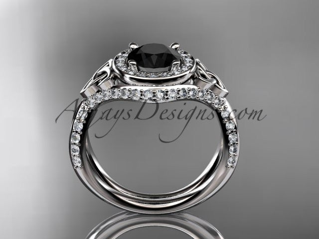 platinum diamond celtic trinity knot wedding ring, engagement ring with a Black Diamond center stone CT7416 - AnjaysDesigns
