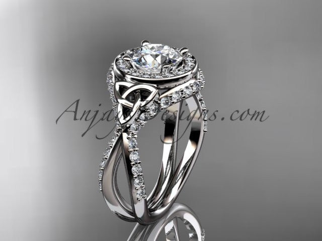 "14kt white gold diamond celtic trinity knot wedding ring, engagement ring with a ""Forever One"" Moissanite center stone CT7416 - AnjaysDesigns"