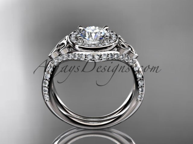"platinum diamond celtic trinity knot wedding ring, engagement ring with a ""Forever One"" Moissanite center stone CT7416 - AnjaysDesigns"