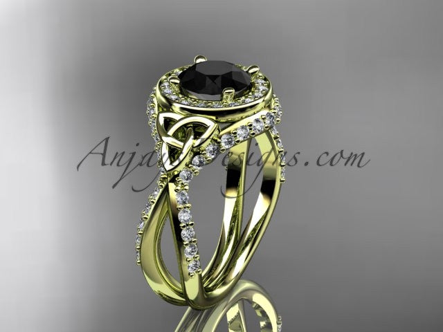 14kt yellow gold diamond celtic trinity knot wedding ring, engagement ring with a Black Diamond center stone CT7416 - AnjaysDesigns