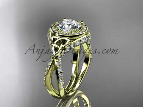 "14kt yellow gold diamond celtic trinity knot wedding ring, engagement ring with a ""Forever One"" Moissanite center stone CT7416 - AnjaysDesigns"