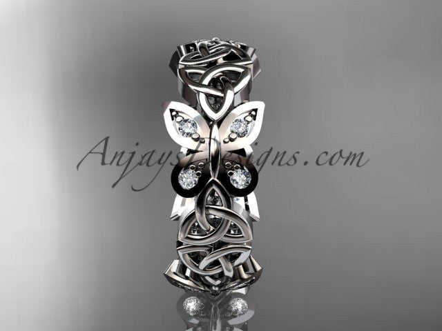 platinum diamond celtic trinity knot butterfly wedding band, engagement ring CT7418B - AnjaysDesigns