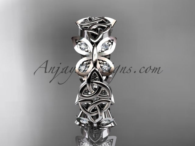 14kt white gold diamond celtic trinity knot butterfly wedding band, engagement ring CT7420B - AnjaysDesigns