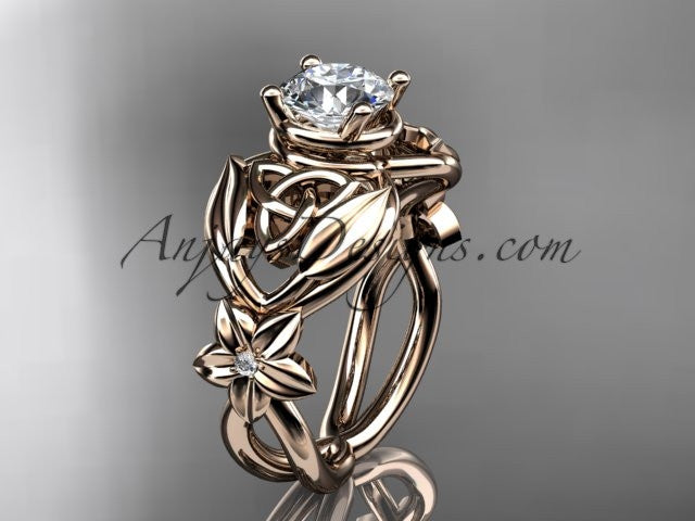 "14kt rose gold diamond celtic trinity knot wedding ring, engagement ring with a ""Forever One"" Moissanite center stone CT7501 - AnjaysDesigns"