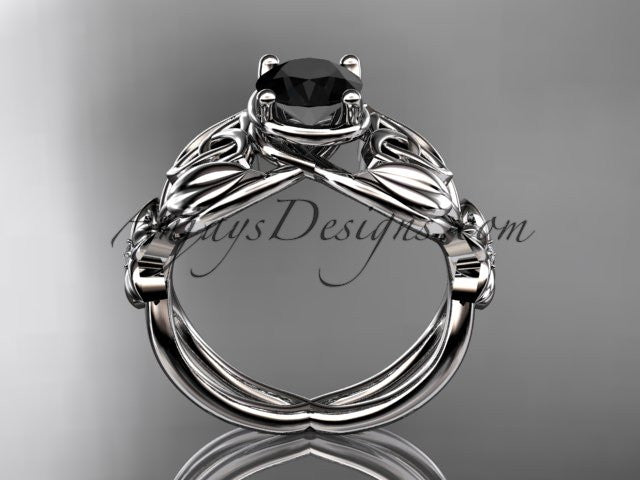 14kt white gold diamond celtic trinity knot wedding ring, engagement ring with a Black Diamond center stone CT7501 - AnjaysDesigns