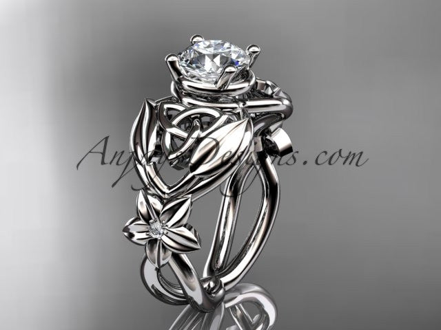 "platinum diamond celtic trinity knot wedding ring, engagement ring with a ""Forever One"" Moissanite center stone CT7501 - AnjaysDesigns"