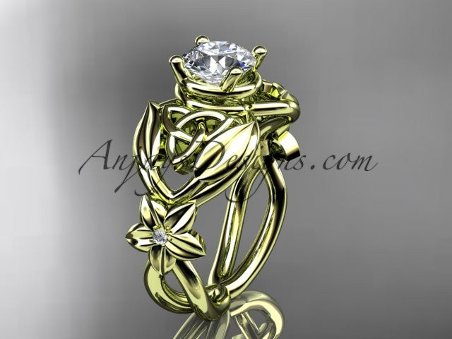 "14kt yellow gold diamond celtic trinity knot wedding ring, engagement ring with a ""Forever One"" Moissanite center stone CT7501 - AnjaysDesigns"