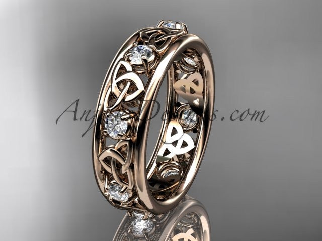 14kt rose gold celtic trinity knot wedding band, engagement ring CT7503B - AnjaysDesigns