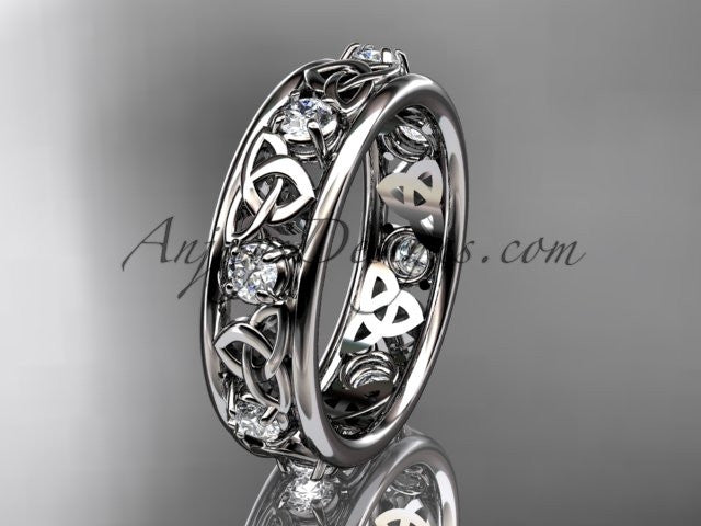 14kt white gold celtic trinity knot wedding band, engagement ring CT7503B - AnjaysDesigns