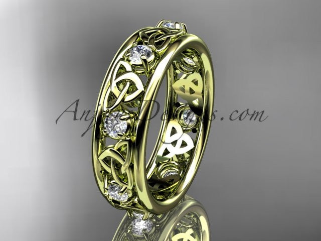 14kt yellow gold celtic trinity knot wedding band, engagement ring CT7503B - AnjaysDesigns