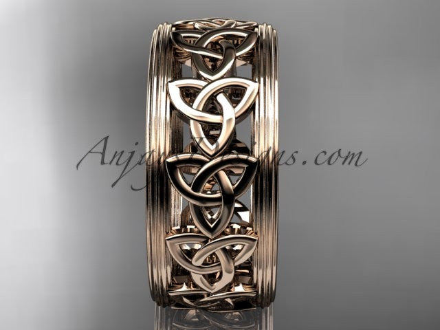 14kt rose gold celtic trinity knot wedding band, engagement ring CT7513G - AnjaysDesigns