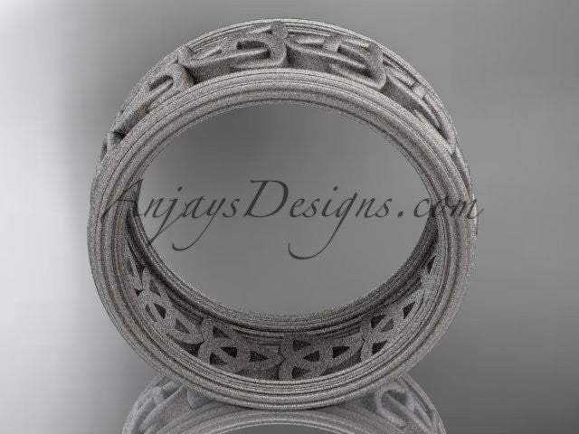 14kt white gold celtic trinity knot wedding band, matte finish wedding band, engagement ring CT7513G - AnjaysDesigns