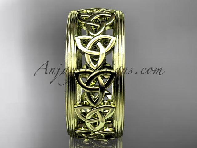 14kt yellow gold celtic trinity knot wedding band, engagement ring CT7513G - AnjaysDesigns