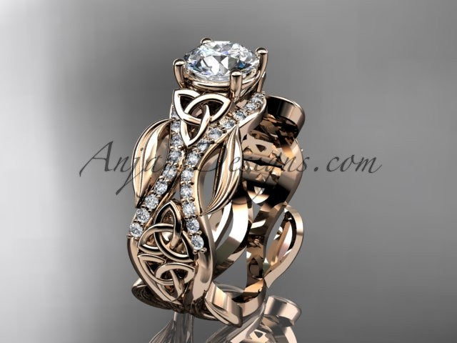 "14kt rose gold diamond celtic trinity knot wedding ring, engagement ring with a ""Forever One"" Moissanite center stone CT7515 - AnjaysDesigns"