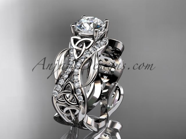 "platinum diamond celtic trinity knot wedding ring, engagement ring with a ""Forever One"" Moissanite center stone CT7515 - AnjaysDesigns"