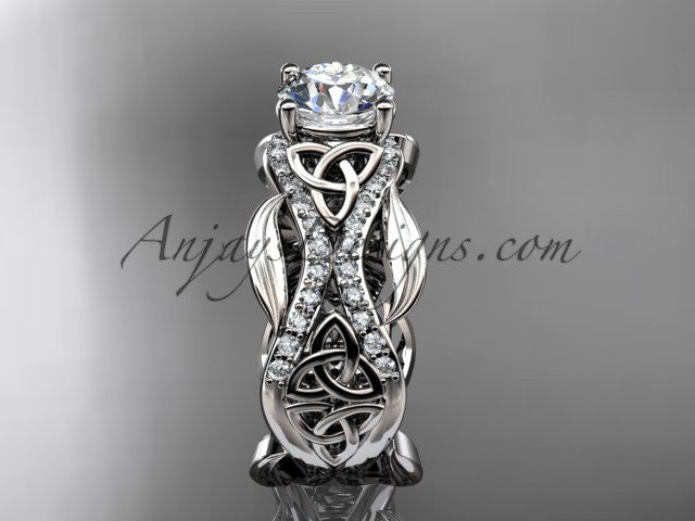 "14kt white gold diamond celtic trinity knot wedding ring, engagement ring with a ""Forever One"" Moissanite center stone CT7515 - AnjaysDesigns"