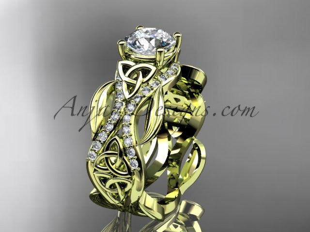"14kt yellow gold diamond celtic trinity knot wedding ring, engagement ring with a ""Forever One"" Moissanite center stone CT7515 - AnjaysDesigns"