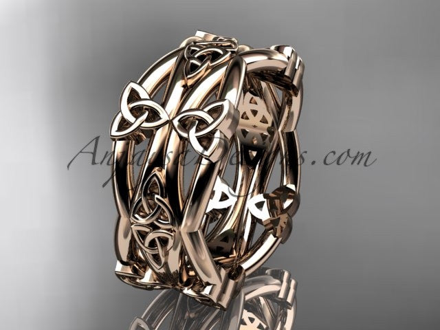 14kt rose gold celtic trinity knot wedding band, engagement ring CT7517G - AnjaysDesigns