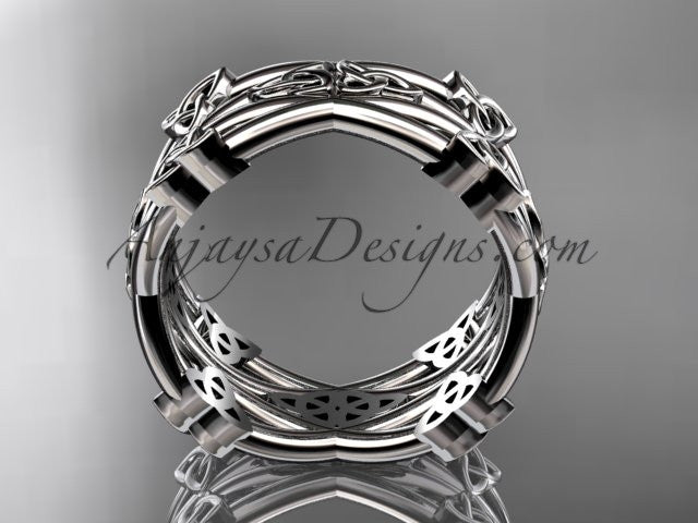 platinum celtic trinity knot wedding band, engagement ring CT7517G - AnjaysDesigns
