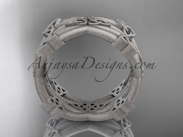 platinum celtic trinity knot wedding band, matte finish wedding band, engagement ring CT7517G - AnjaysDesigns