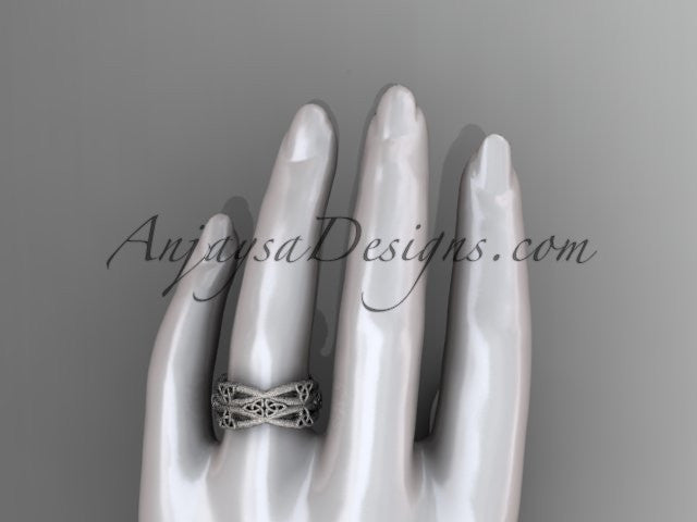 14kt white gold celtic trinity knot wedding band, matte finish wedding band, engagement ring CT7517G - AnjaysDesigns