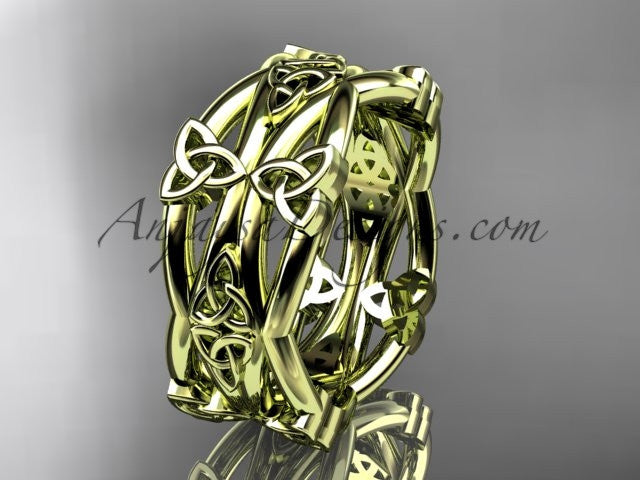 14kt yellow gold celtic trinity knot wedding band, engagement ring CT7517G - AnjaysDesigns