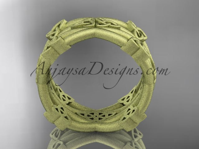 14kt yellow gold celtic trinity knot wedding band, matte finish wedding band, engagement ring CT7517G - AnjaysDesigns