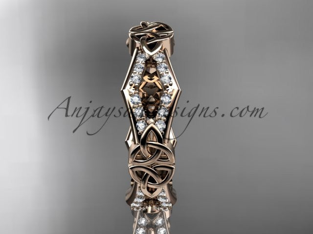 14kt rose gold diamond celtic trinity knot wedding band, triquetra ring, engagement ring CT7518B - AnjaysDesigns