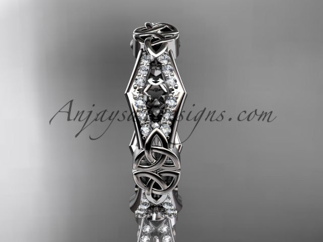 14kt white gold diamond celtic trinity knot wedding band, triquetra ring, engagement ring CT7518B - AnjaysDesigns