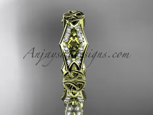 14kt yellow gold diamond celtic trinity knot wedding band, triquetra ring, engagement ring CT7518B - AnjaysDesigns