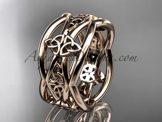 14kt rose gold celtic trinity knot wedding band, engagement ring CT7519G - AnjaysDesigns