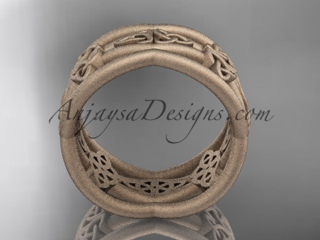 14kt rose gold celtic trinity knot wedding band, matte finish wedding band, engagement ring CT7519G - AnjaysDesigns