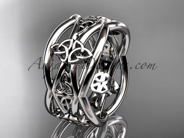 14kt white gold celtic trinity knot wedding band, engagement ring CT7519G - AnjaysDesigns