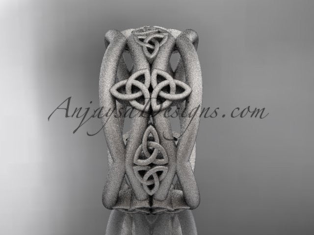 14kt white gold celtic trinity knot wedding band, matte finish wedding band, engagement ring CT7519G - AnjaysDesigns